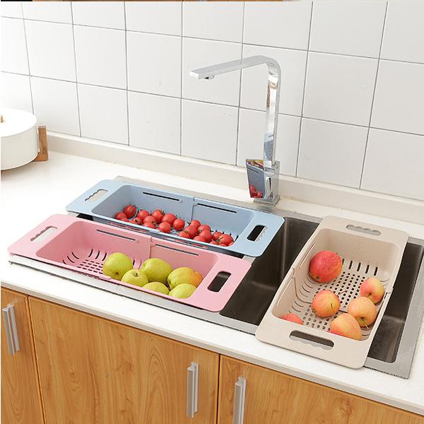 廚房用品 神奇伸縮多功能水槽瀝水籃 過濾 洗菜籃 【KFS292】123OK