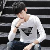 男T恤 男短t恤 韓版T恤 男裝圓領長袖T恤 韓版修身上衣學生打底衫【非凡上品】cx475