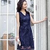 [88089-S]性感V領滿版花朵蕾絲無袖小禮服洋裝~宴會穿搭~小三衣藏