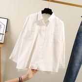 白色襯衫 白色襯衫女長袖純棉寬鬆學生外套休閒百搭2020新款韓版襯衫職業裝