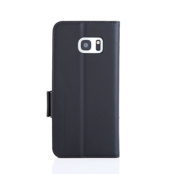 Samsung S7 edge 防電磁波真皮手機皮套旗艦黑