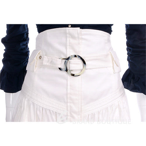 PAOLA FRANI 白色排釦高腰及膝裙 0910200-20