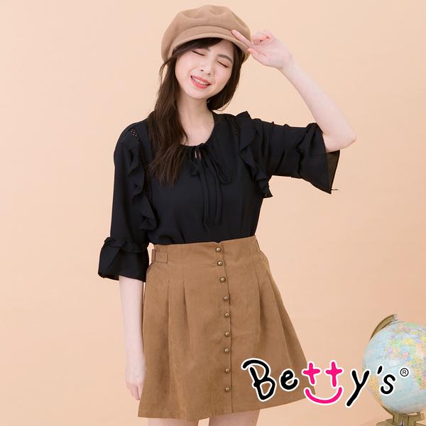 betty's貝蒂思 前開釦造型短裙(駝色)