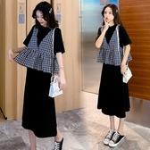 漂亮小媽咪 韓系 二件式 洋裝 【DS3916】 格紋 背心 兩件式 套裝 短袖洋裝 孕婦裝 長裙