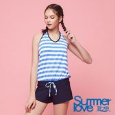 【Summer Love 夏之戀】加大碼海軍風長版三件式泳衣(S18733)