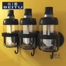 壁掛調味盒 壁掛調料罐掛牆式免打孔勺蓋一體玻璃調味瓶調料盒套裝家用組合裝