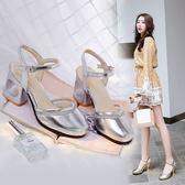 大尺碼女鞋 2019春夏季新款時尚優雅百搭舒適閃亮一字帶中跟涼拖鞋~2色