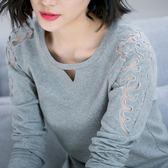 蕾絲衫 春裝新款韓版上衣大碼純棉圓領蕾絲袖長袖t恤女裝打底衫 唯伊時尚
