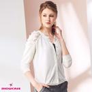 【SHOWCASE】優雅花蕾絲透接拼接薄小針織外套(白色)