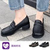 韓系復古學院風真皮方頭低跟鞋/2色/35-43碼  (RX1123-097) iRurus 路絲時尚