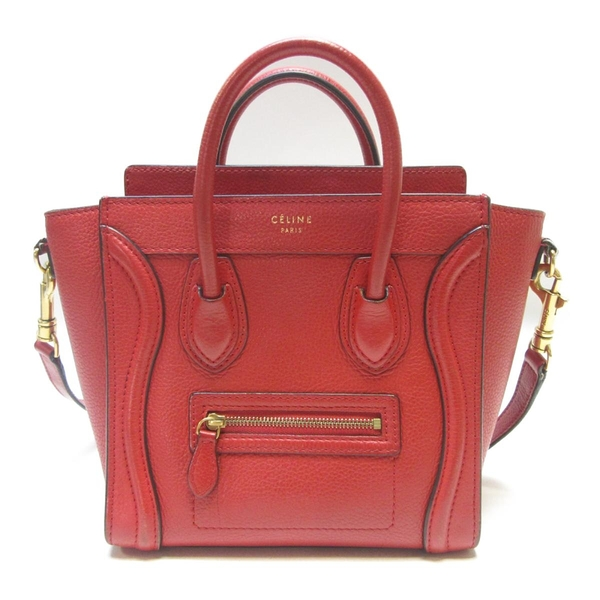 CELINE 賽琳 紅色牛皮手提包 小囧包 Nano Luggage Bag【BRAND OFF】