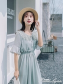 2021夏季超仙森系洋裝女中長款學生收腰雪紡裙小清新法式桔梗裙 范思蓮恩