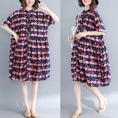 櫻桃印花開襟洋裝-大尺碼 獨具衣格