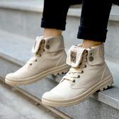 夏男士皮靴馬丁靴韓版潮流帆布靴工裝靴英倫軍靴高筒男休閒鞋 【korea時尚記】
