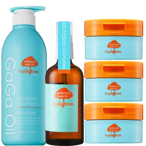 【Morocco GaGa Oil】摩洛哥醫美級修護滋養髮膜3入+洗髮精+秀髮油(強健髮根、去油抗屑、潤澤保濕)