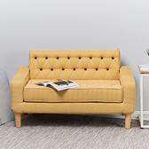 伊登 Bonby 拉扣造型復古布沙發(餅乾黃)餅乾黃
