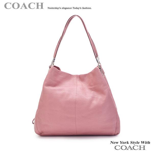 COACH‧34495 質感皮革三層賈姬包 - 淺粉色