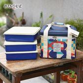 【日本BISQUE】3件便當盒保溫保冷袋組彩色方塊