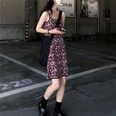 chic夏裝無袖露肩顯瘦吊帶碎花中裙夏季復古修身細肩帶針織洋裝