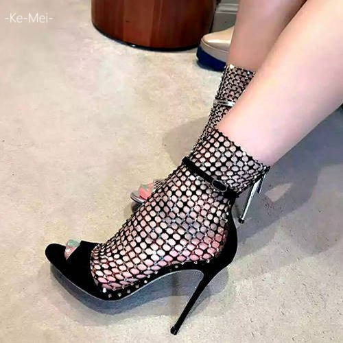 克妹Ke-Mei【ZT65923】歐洲站 奢華水鑽網紗性感露指宴會高跟鞋
