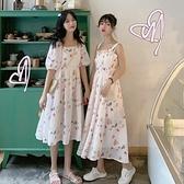 夏季新款很仙的森系閨蜜中長款收腰顯瘦碎花方領短袖洋裝女 秋季新品