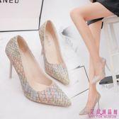 高跟鞋10cm 復古公主高跟鞋女尖頭性感細跟淺口優雅職業單鞋女(3 色34 39 )