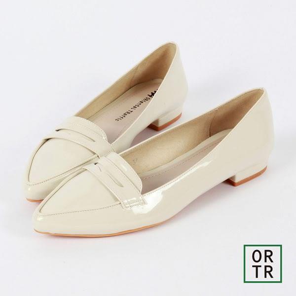 【ORiental TRaffic】知性風微尖楦低跟便鞋-白色