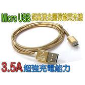 i-wiz USB 2.0 A公/Micro B公 3.5A 高速金屬彈簧 金色 1M