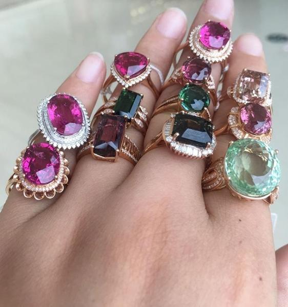天然巴西糖果碧璽大顆粒戒指彩色寶石18k玫瑰金南非真鉆