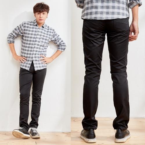 黑色亮面材質休閒褲