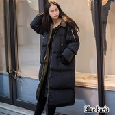 藍色巴黎 ★ 秋冬 保暖加厚連帽羽絨舖棉拉鍊中長版風衣外套大衣《M~ XL 》【28620】
