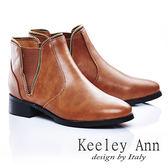 ★零碼出清★Keeley Ann 經典百搭 ~ 魅力個性拉鍊拼接短靴(棕)