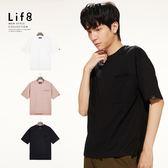 Life8-Casual 重磅挺棉 織帶口袋落肩寬版修身T-白色/黑色/粉紅色【10132】