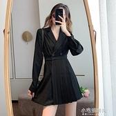 法式復古赫本風百褶西裝裙秋冬裝氣質打底收腰小個子洋裝女 免運快出