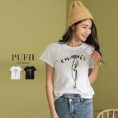 現貨◆PUFII-上衣 法式女郎袖反摺短袖T恤上衣 2色-0225 春【CP15949】