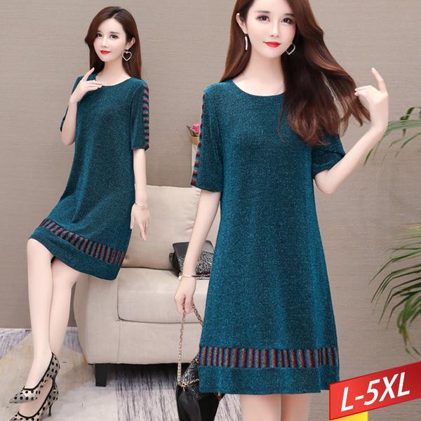 彩線條紋造型亮絲洋裝 L~5XL【543183W】【現+預】-流行前線-