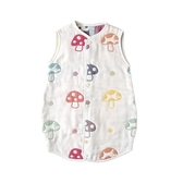 Hoppetta 寶寶防踢被背心(M)前扣式兩用-蘑菇白 0-3歲   日本製六層紗【HOPP010040001】