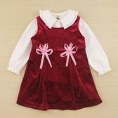 【愛的世界】剪絨背心洋裝套裝/1~4歲-台灣製- ★秋冬套裝