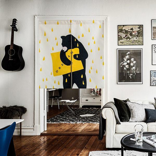 可愛時尚棉麻門簾E285 廚房半簾 咖啡簾 窗幔簾 穿杆簾 風水簾 (85寬*90cm高)