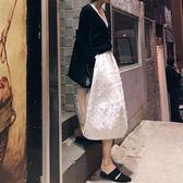 蓬蓬裙 半身裙年春款春秋中長款a字裙白色傘裙蓬蓬裙高腰春夏裙子 【愛丫愛丫】
