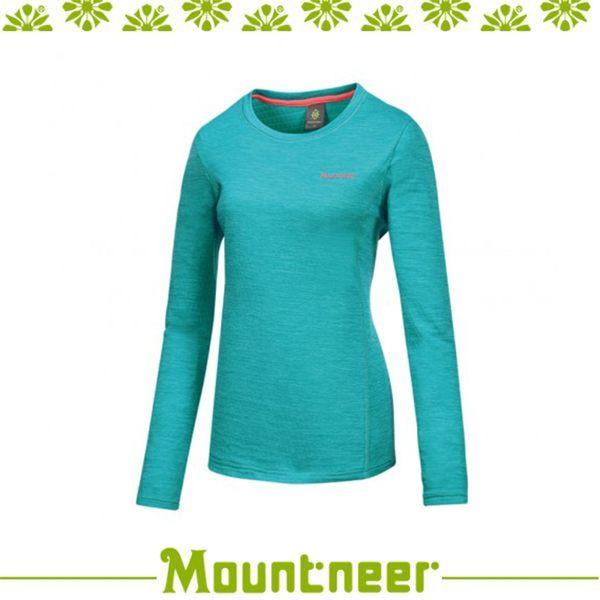 【Mountneer 山林 女 圓領雲彩針織保暖衣《湖水綠》】22P18/長袖/旅遊/內著