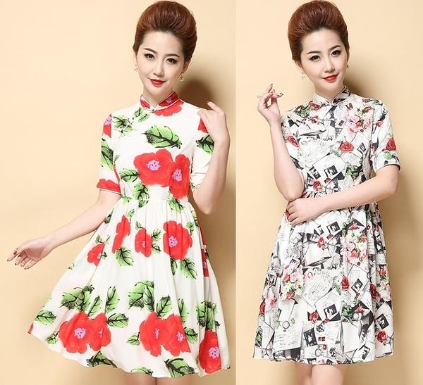 卡樂store...中大尺碼女裝中國風改良旗袍連身裙修身顯瘦 2色 S-3XL #dno1124