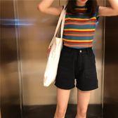 背心女夏季2018新款韓版彩虹條紋百搭無袖上衣圓領套頭寬鬆坎肩女 桃園百貨