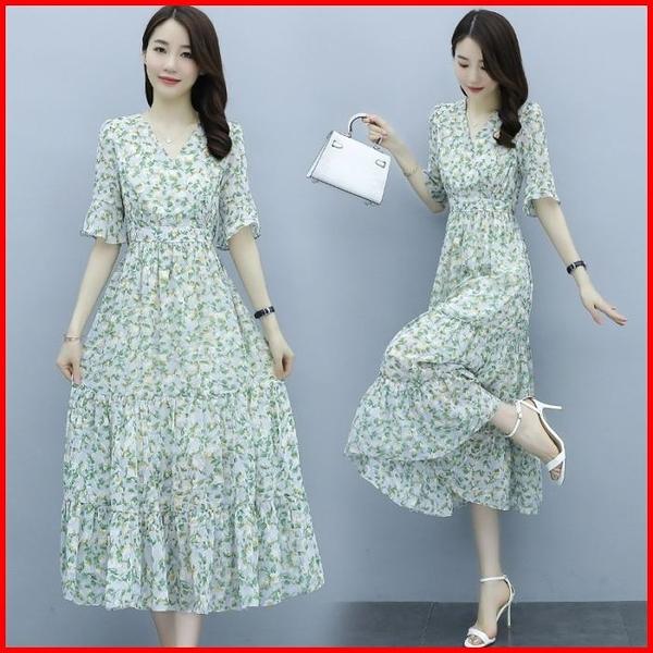 韓國風短袖洋裝 碎花雪紡連衣裙女輕熟高腰過膝長款連身裙  依多多