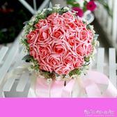 新娘婚禮手捧花仿真玫瑰捧花結婚用品韓式手捧花送同款胸花腕花 晴天時尚館
