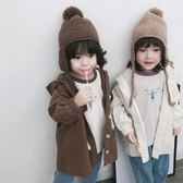 現貨-秋冬兒童毛線帽款雷鋒帽男女童護耳帽毛帽寶寶保暖防寒麂皮絨帽子潮
