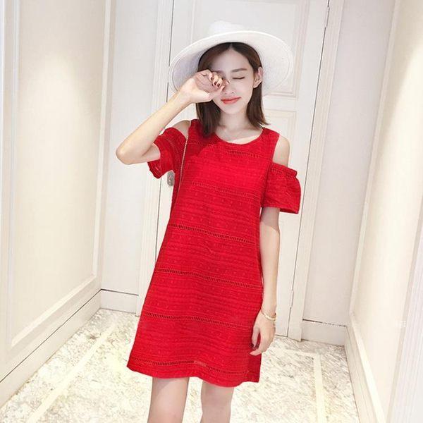 連身裙女夏2019新款寬鬆沙灘裙子刺繡露肩a字裙紅色棉麻連身裙潮