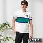 【JEEP】造型拼接運動風短袖POLO衫-白