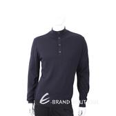 TRUSSARDI 排釦小立領深藍色針織羊毛衫 1710687-34