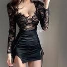 低胸上衣 新款春季上衣女性感低胸睫毛蕾絲透視短款氣質收腰長袖T恤